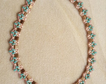 Cleopatra Necklace in bronze turquoise and light orange