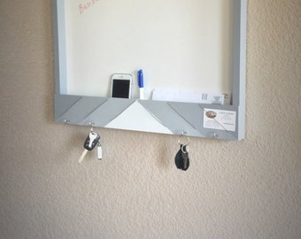 Entry organizer and dry erase board, entryway storage, photo display, mail storage, key hooks, wood dry erase board, entryway storage