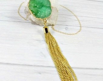 Druzy Necklace, Gold Statement Necklace, Long Necklace, Natural Stone, Boho Necklace, Mothers Necklace, Pendant Necklace, Druzy Jewelry