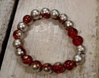 Orange & Silver Bead Bracelets