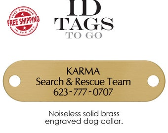Cribbing collar tag, Engraved Brass Id Tag, Personalized Brass Plate, Artist Name Plate