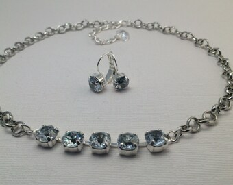 The ELSA Collection, 8mm Swarovski Crystal Necklace and Earring set, Icy blue set in silver, GRAND OPENING sale- 25% off with coupon code!