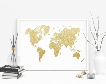 Gold glitter world map, Printable world map, Gold foil wall prints, Instant download