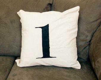 Numbered Linen Pillow - custom - 1 - 2 - 3 - 4 - throw pillow - rustic - industrial - modern - linen fabric - zippered - tan - natural