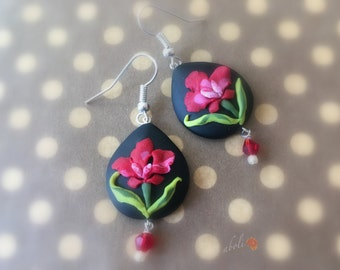 Polymer clay orchid handmade earrings