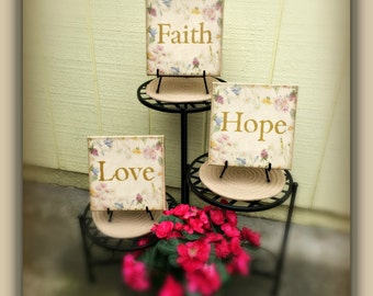 Canvas Wall Decor Inspirational - Faith Hope & Love squares