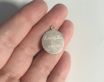 "Vintage 1957 ""Timothy Lee"" Estate Round 925 Sterling Silver Birth Charm"