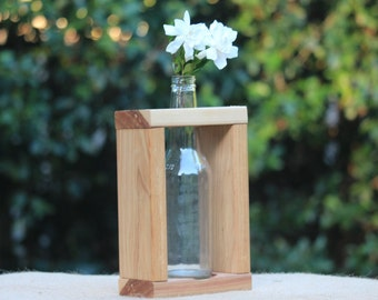 Handmade Wooden Vase for 1 x Beer Bottle