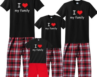 I Heart My Family Matching Outfits - FREE SHIPPING, Each Shirt-Pant Set Sold SEPARATELY, All sizes Baby to Adult - Great Family Gift
