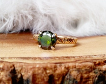 Green CZ Ring Big CZ Ring Hammered Solitaire Ring Olive Green Stone Ring Hammered Silver Solitaire Ring Deep Green Stone Dark Green Stone