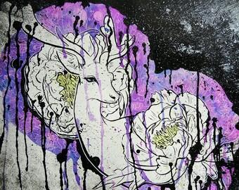 ORIGINAL Watercolor and Ink Painting Bleeding Deer with Peonies 9x12