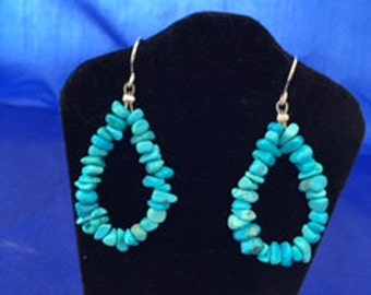 Turquoise teardrop nugget earrings in sky blue