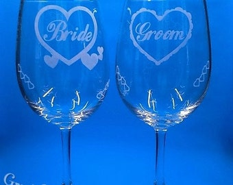 Personalized Wine Glasses,Wedding Glasses,Custom Wine Glasses, Personalized Wedding Glasses,Custom Wedding Glasses,Hand Etched,Set of 2