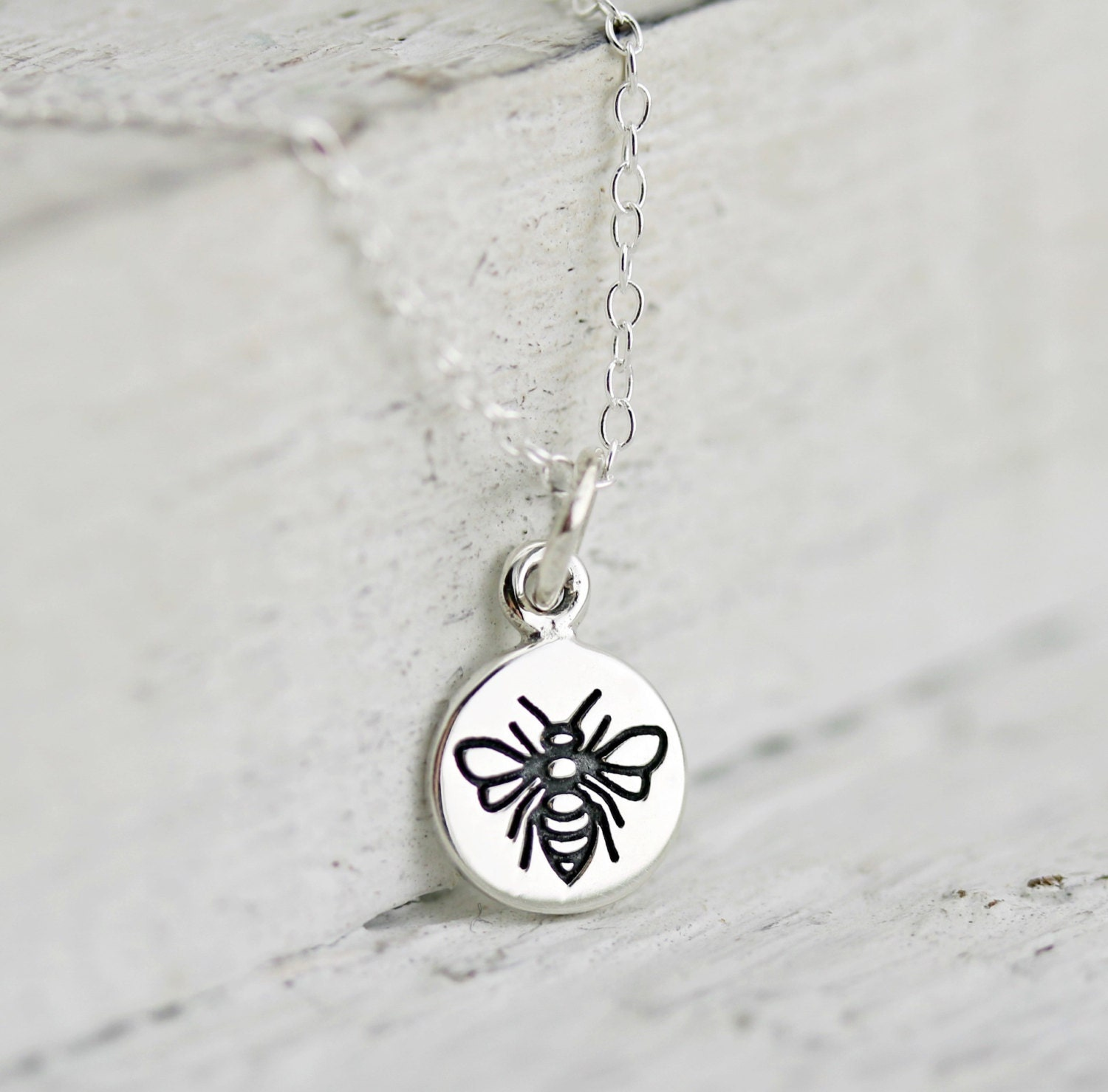 Tiny Bee Necklace Sterling Silver Bumble Bee Necklace