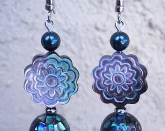 Mosaic Abalone shell Swarovski earrings carved flower