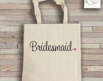 Bridesmaid Tote Bag - Natural Cotton Canvas Tote - Wedding Tote Bag - Bridesmaid Reusable Bag - Shoulder Bag - Canvas Bag