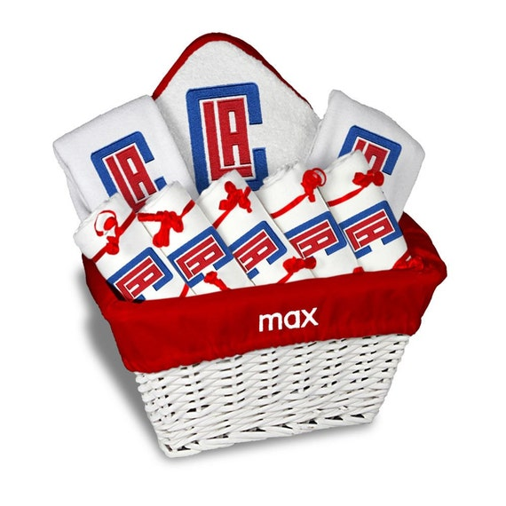 Baby Gift Los Angeles : Personalized los angeles clippers baby gift basket bibs