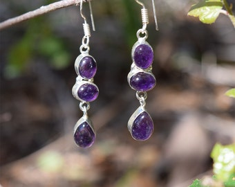 Calma Silver Amethyst Dangle Earrings