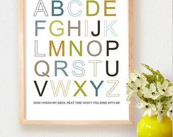 PRINTABLE ART - ABC Alphabet art - 11x 14 Nursery Art - Nursery Decor, Instant download , Modern Wall Art,