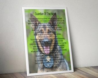 K9 Officer Gift, Guardian Of The Night, Law Enforcement K9 Police Gift, K9 Police Wall Art Gift, K9 Police Appreciation, K9 Police Art Print