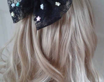 Soot Sprite inspired Black Lace Bow Hair Clip. Studio Ghibli. Spirited Away. Kawaii. Cosplay.