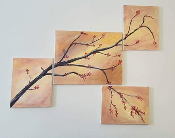 Four panel blooming branch