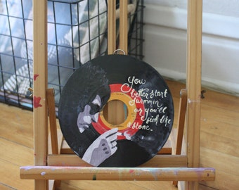 """Bob Dylan """"The Times, They Are A-Changin"""" Lyric EP Record Painting"""