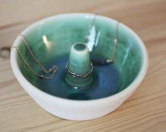 Turquoise Green Ceramic Ring Dish – Handmade Pottery – Pottery Ring Holder – Ceramic Ring Holder