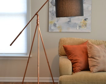 Floor Lamp - Copper Pipe Tripod Hanging Shade Industrial Minimalist Floor Lamp Base