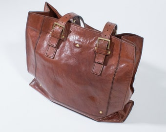 THE BRIDGE - Brown leather shopper bag