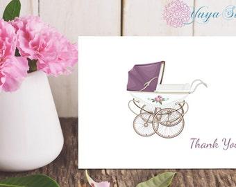 Personalized Stationery / Custom Stationery / Stationery Set / Custom Baby Shower Stationery / Baby Carriage Stationery / Set of 12