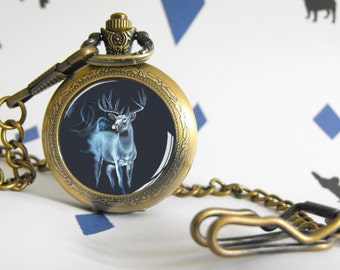 Deer patronus - Totem Animal - Pocket watch or necklace - Victorian Steampunk style - Glass cabochon - Special Etsy gift - Magic