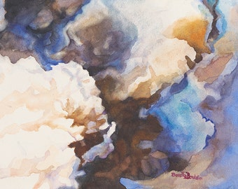 watercolor painting original of stormy clouds on paper