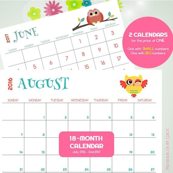 18-MONTH Calendar - 2016-17 Printable Kid Calendar, Owl Calendar ...