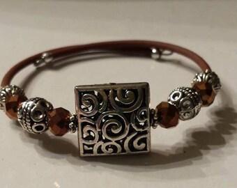 Square Pandora Inspired Silver Spiral Design Adjustable Memory Wire Bracelet in Silver