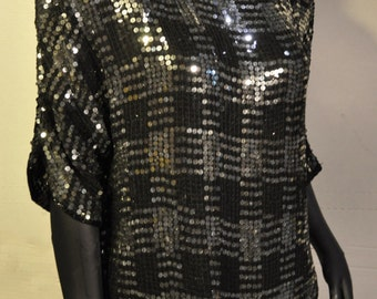 Womens Vintage Sequined Top