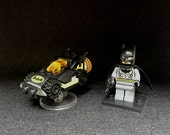 SALE: Custom Batman Mini Figure with Mini Batmobile, Lego mini figurines, minifigure, Gift for all, Collectibles, Kids toy, gift for kids