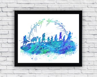 The Fellowship Of The Ring Watercolor print, The Fellowship Of The Ring  Printable Wall Art, The Fellowship Of The Ring  poster