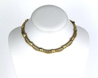 Vintage MONET Old Hollywood Inspired Filigree Brushed Gold Tone Choker Necklace