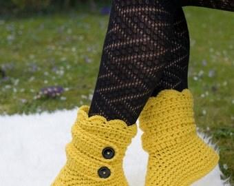 Crochet Golden Yellow Slipper Boots