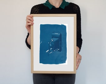 3d Analogue Vintage Film Camera, Cyanotype Print on Watercolor Paper, A4 size (Limited Edition)