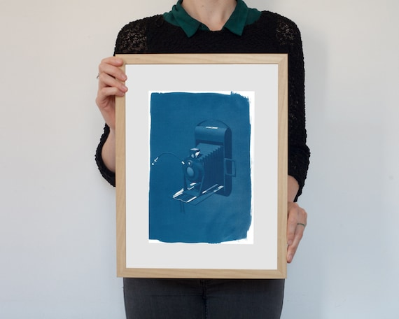 3d Analogue Vintage Film Camera, Cyanotype Print on Watercolor Paper, A4 size