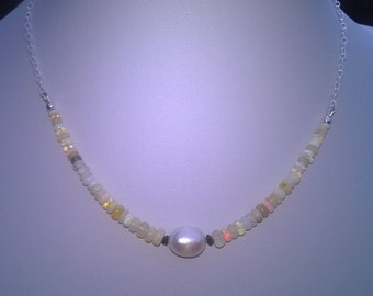 New - Opal, pearl and diamond necklace.