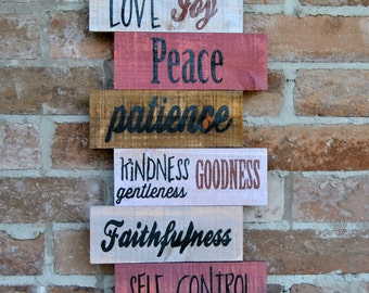 Love, Joy, Peace, Patience-Stacked Boards-Shabby Rustic Sign