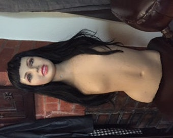 Vintage Mannequin Bust with Wig