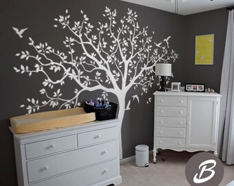 Large tree wall decal Tree decal for nursery Temporary wall decor for nursery Tree and birds wall decal, mural sticker for kids room -AM017