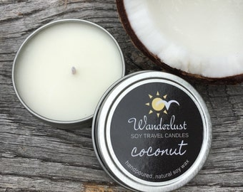 Coconut ~ Wanderlust ~ Soy Travel Candles ~ 2oz tin w/lid