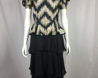 Vtg 70s 80s metallic chevron ruffle tier disco glam dress