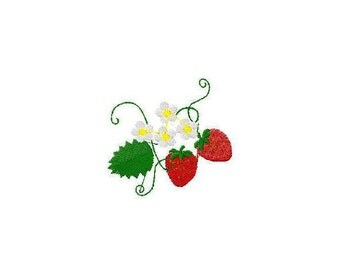 Machine embroidery design strawberry strawbberies with flowers