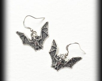 Gothic Bat Earrings - Antique Silver